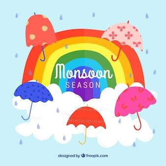 De achtergrond van het moessonseizoen met paraplu's