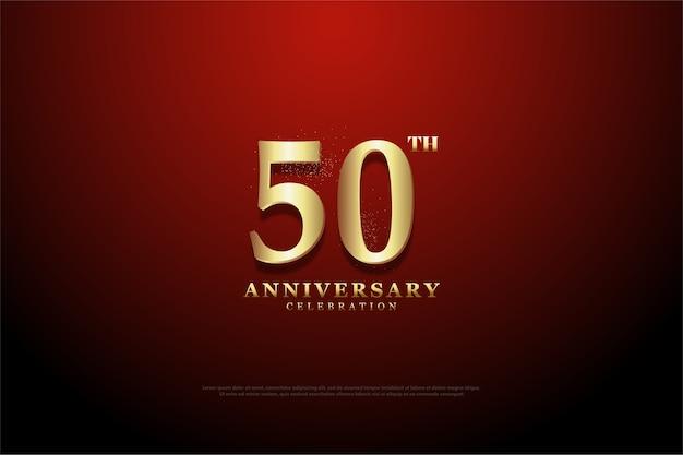 De achtergrond van het vijftigjarig jubileum heeft overal een mix van rood en donker