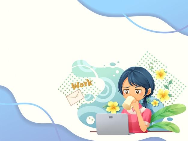 De achtergrond van het webmalplaatje met mensen die aan laptop2 werken - vector