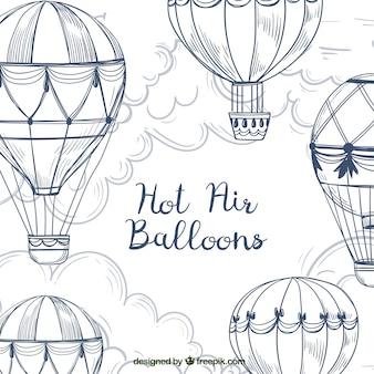 De achtergrond van hete luchtballons met hemel in hand getrokken stijl