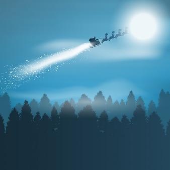 De achtergrond van kerstmis met santa vliegen door de lucht