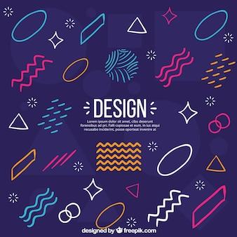 De achtergrond van ontwerpelementen in de stijl van memphis