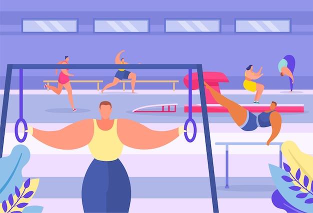 De acrobatische moderne gymnastiek- sportgymnastiek, mensen trekt op dwarsbalk, sportevenement, cardiologische oefening, vlakke vectorillustratie uit.