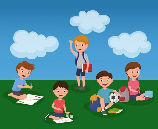 De activiteit van kinderen in kleurrijke de zomerkindertuin.