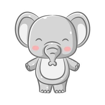 De afbeelding van de grote olifant met het schattige gezicht en de kleine slurf staat met zijn voeten