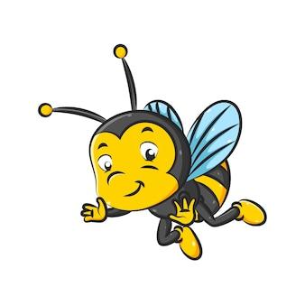 De afbeelding van de kleine bij met de zwarte en gele kleur vliegt met de kleine vleugels