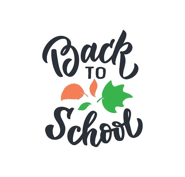 De afbeelding van de school met tekst de belettering zin terug naar school is goed voor een gelukkige lerarendag