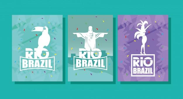 De affiche van brazilië carnaval met het vastgestelde ontwerp van de pictogrammen vectorillustratie
