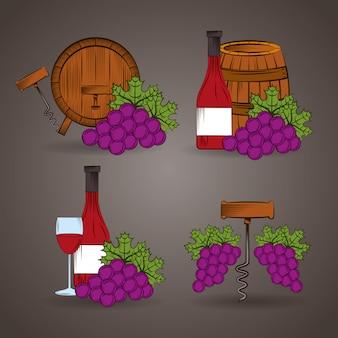 De affiche van het wijnhuis met vat en druivenillustratie