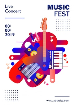 De affichemalplaatje van het muziekfestival, op witte kleurrijke achtergrond ,. illustratie
