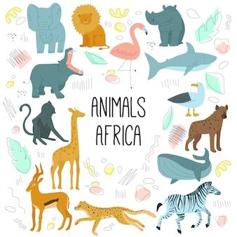 De afrikaanse dieren overhandigen getrokken beeldverhaalkarakters vectorillustratie