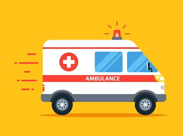 De ambulance gaat naar de oproep met de flitser aan. platte auto vectorillustratie.