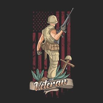 De amerikaanse soldaat met wapens verwelkomt de overwinning