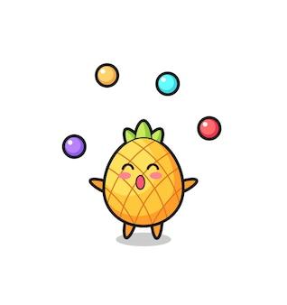 De ananas-circuscartoon jongleren met een bal, schattig stijlontwerp voor t-shirt, sticker, logo-element