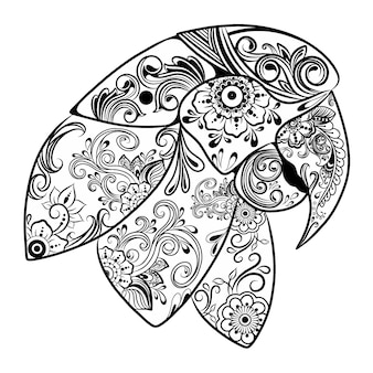 De animatie van de prachtige papegaaien met bloemenornament voor de tekenschets