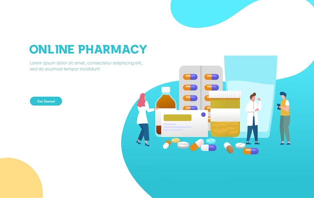 De apotheker geeft advies en concellerende medicatie aan klant bij het concept van de apotheekillustratie