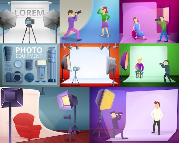 De apparatuurillustratie van de fotograaf die op beeldverhaalstijl wordt geplaatst