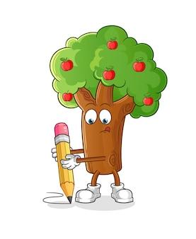 De appelboom schrijft met de illustratieontwerp van het potloodkarakter