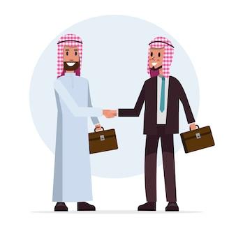 De arabische zakenman schudt hand voor samenwerking met partner