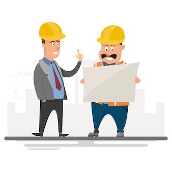 De arbeider leidt een project op bouwterrein