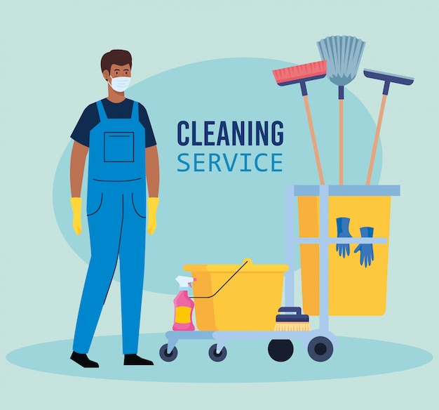 De arbeider van mensenafro van de schoonmakende dienst die medisch masker, met het schoonmaken van karretje met de illustratieontwerp van materiaalpictogrammen dragen
