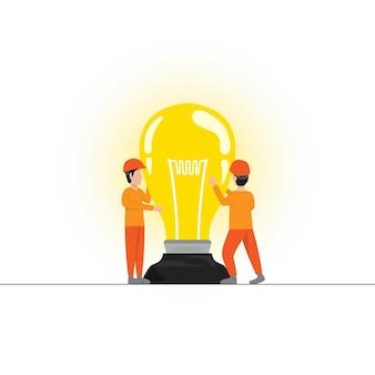 De arbeider verandert de lamp