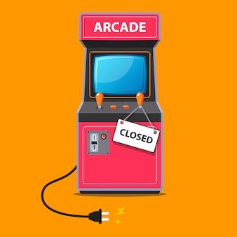 De arcade-machine stopte met werken en er werd een bord op gesloten