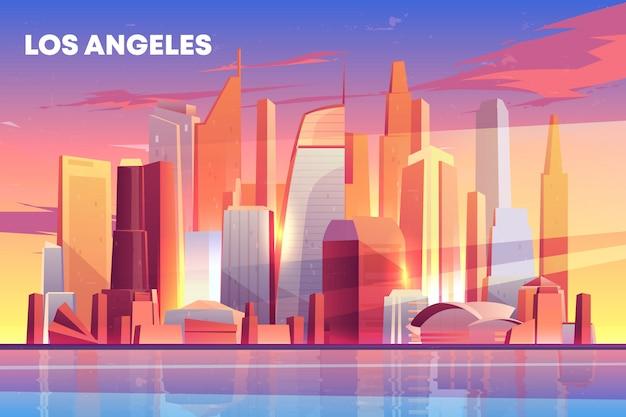 De architectuur van de de stadshorizon van los angeles dichtbij waterkant, moderne megapolis met gebouwenwolkenkrabbers