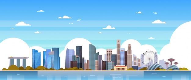 De architectuurcityscape van singapore beroemde oriëntatiepunten en wolkenkrabbersillustratie