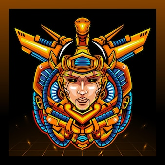 De arjuna hoofd mecha robotmascotte. esport logo ontwerp