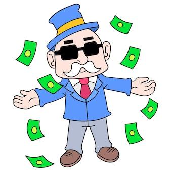 De arrogante rijke oude mens geeft op dollars uit, vectorillustratieart. doodle pictogram afbeelding kawaii.