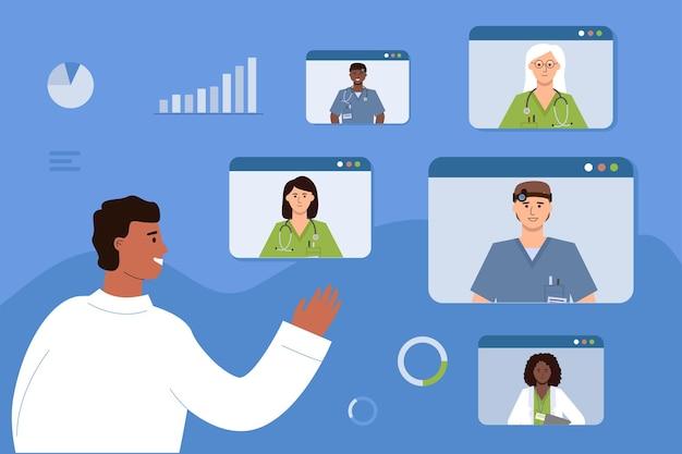 De arts communiceert online met zijn collega's. medische videoconferentie, consultatie en training van zorgmedewerkers.