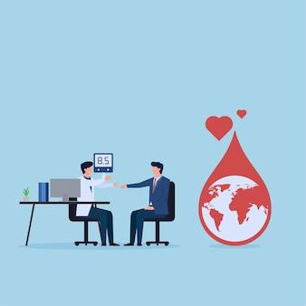 De arts controleert het bloed van de patiënt op diabetes. metafoor van de werelddag voor diabetes.