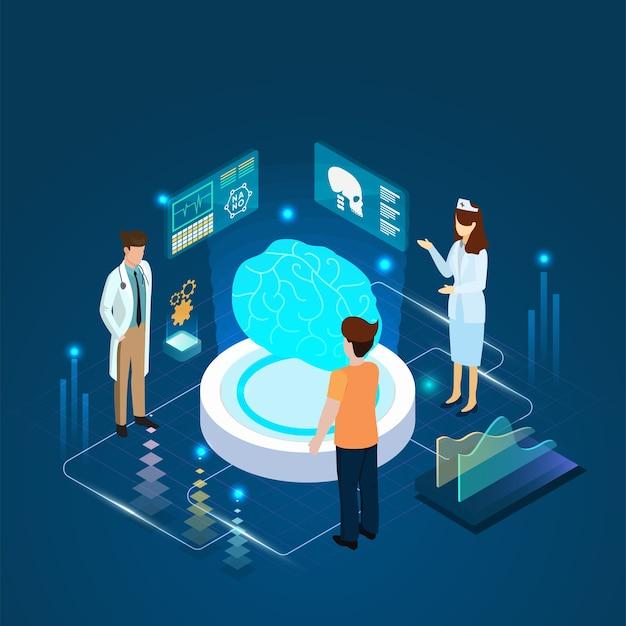 De arts en de patiënt die de diagnose van de hersenendiagnose en een online concept ontmoeten.