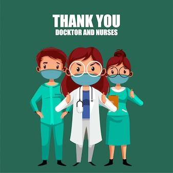 De arts en de verpleegster danken u illustratie