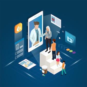 De arts en in de wachtrij geplaatste patiënt die diagnose online behandeling op een smartphone ontmoeten.