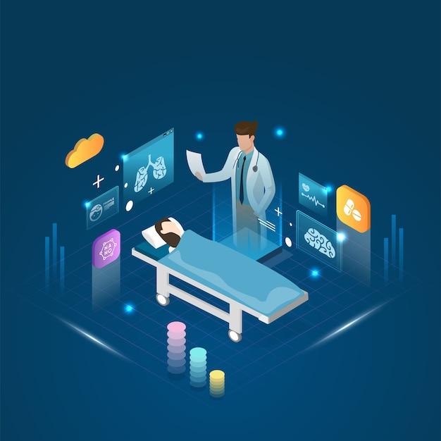 De arts en patiënt die longdiagnosebehandeling en een online concept ontmoeten.