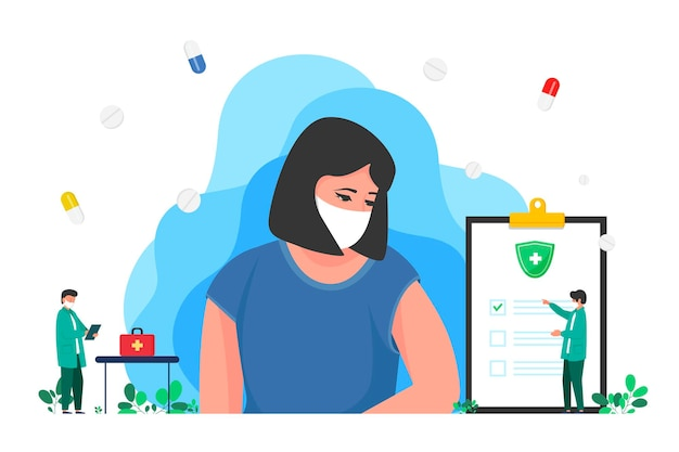 De arts herziet het behandelrapport vrouw, checklist over gezondheidsinformatie van diagnose, medicijnconcept, ziektekostenverzekering. medische dienst. document met resultaten van laboratoriumtest.