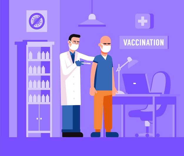 De arts injecteert het vaccin bij de patiënt