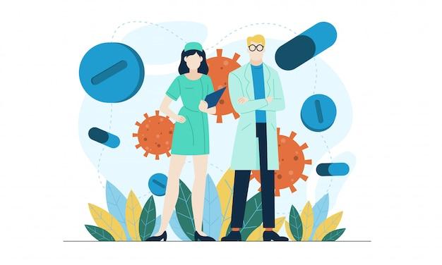 De arts legt over virus vlakke illustratie uit