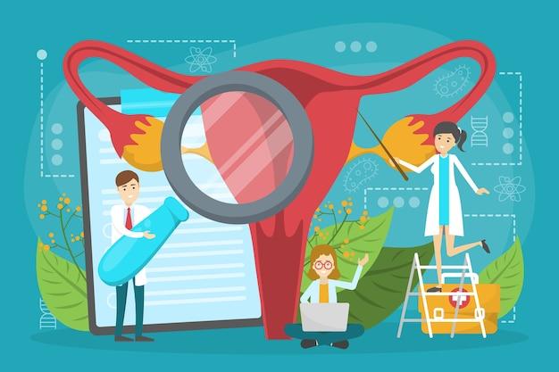 De arts maakt het concept van het baarmoederonderzoek. gynaecologie en vrouwelijk