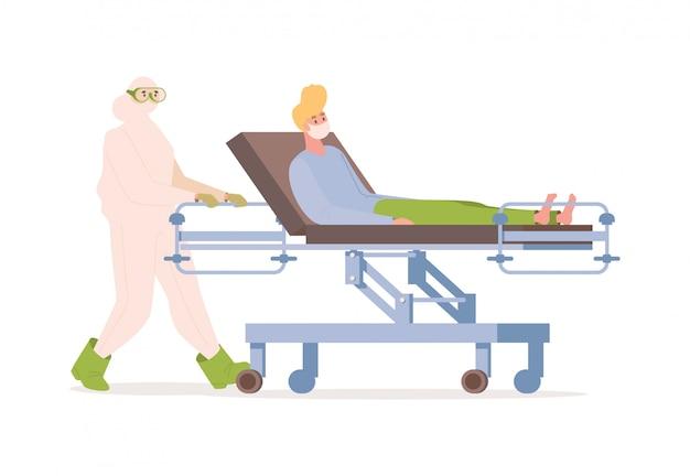 De arts of de verpleegster in beschermend kostuum vervoeren zieke patiënt in medisch gezichtsmasker op gurney vlakke illustratie.