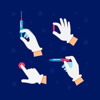 De arts of de wetenschapper dient latexhandschoenen in