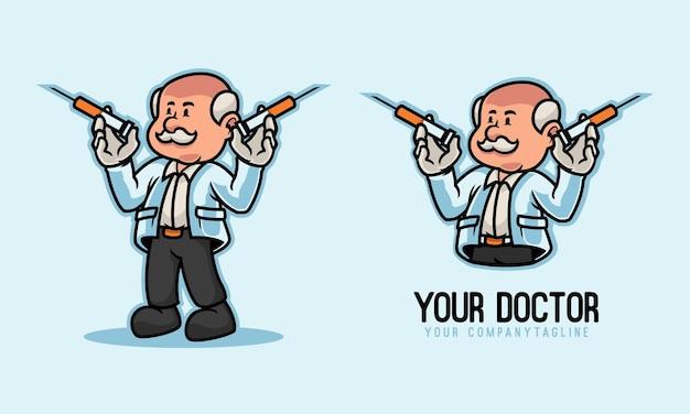 De arts-specialist houdt het logo van de injectiemascotte vast