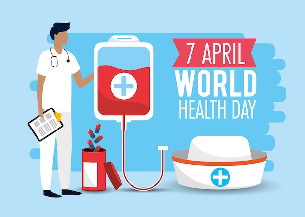 De arts van de mens met bloeddonatie aan gezondheidsdag