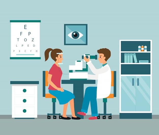 De arts van de oogarts onderzoekt het gezichtsvermogen van de patiënt met professionele oftalmologische apparatuur.