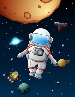 De astronaut blijft in de ruimte