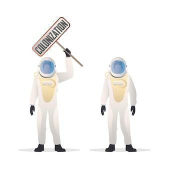 De astronaut in een beschermend pak