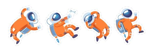 De astronaut in het oranje pak in verschillende poses in gewichtloosheid. ruimtevaarder. kosmonaut. stickers voor kinderen. set.