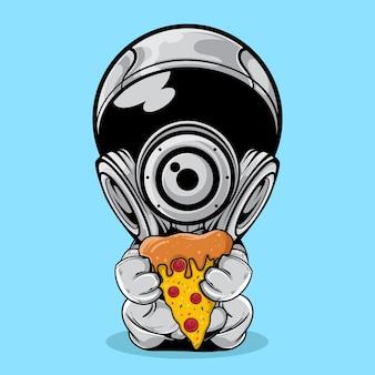 De astronaut met een stukje pizza illustratie